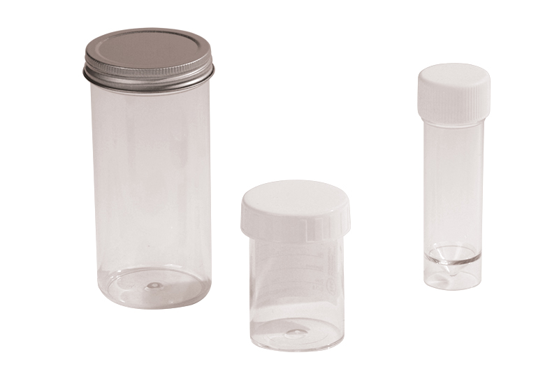 Specimen Container 30ml Poly. cap with spoon, plain label