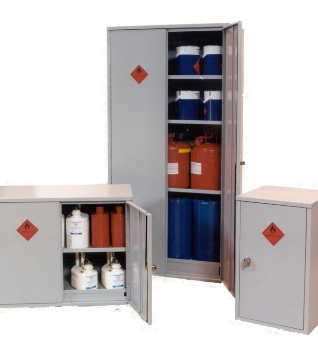 Chemical Cabinet 915 x 458 x 458, 2 shelves, zinc.